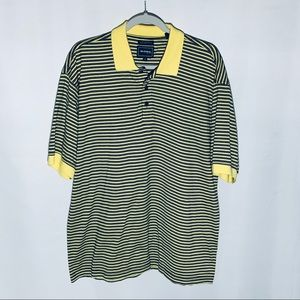 Bolle yellow/navy striped polo, cotton, size M